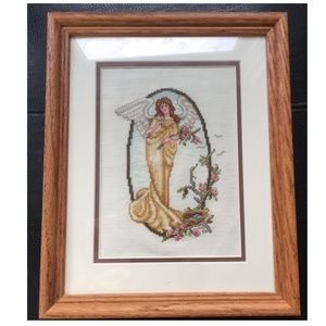 Counted Cross Stitch Finished Angel Holding Flower
